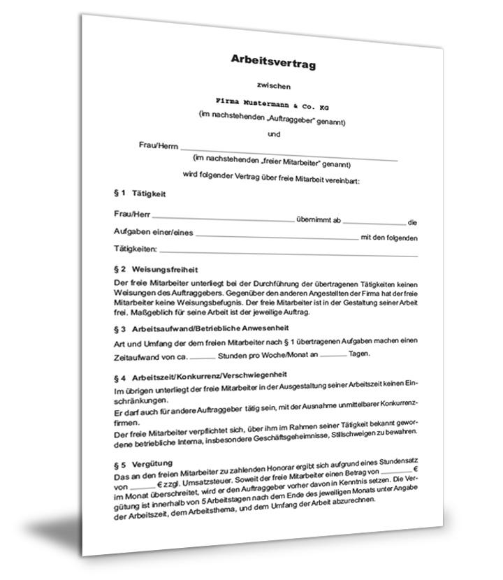 Freier Mitarbeiter Arbeitsvertrag