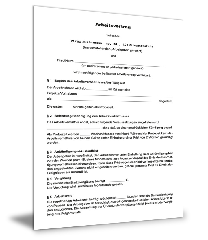 Projektbezogener Arbeitsvertrag Befristet