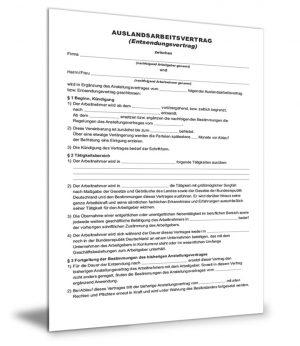 Auslandsarbeitsvertrag (Entsendevertrag)