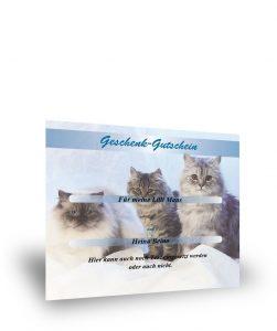 Geschenkgutschein mit Katzenmotiv