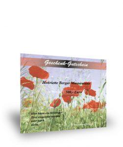 Geschenkgutschein mit Mohnblüten/Wiesenfeld