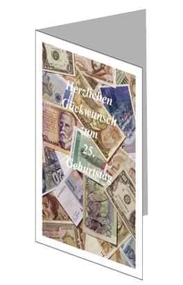 Glückwunschkarte mit Geldscheinmotiv lang