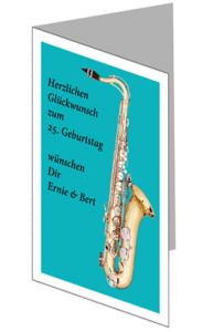 Glückwunschkarte mit Saxophon lang