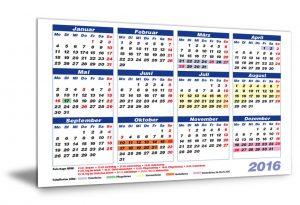 Kalender 2016 Feiertage/Schulferien NRW