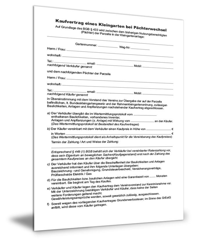 Kaufvertrag Kleingarten (Pächterwechsel