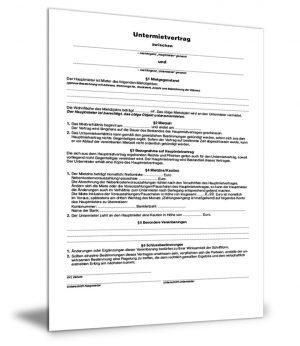 Mietvertrag für Untermieter
