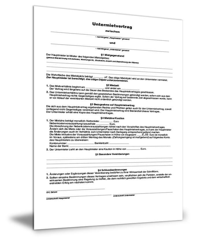 Untermietvertrag Formular Gratis Zum Download