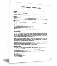 Satzung für Sparvereine