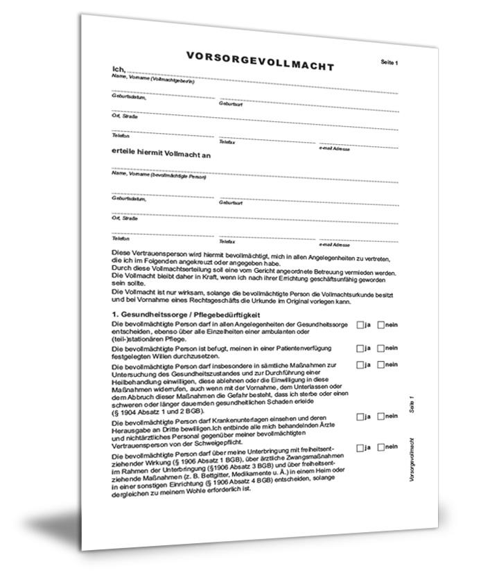 Vorsorgevollmacht formular download
