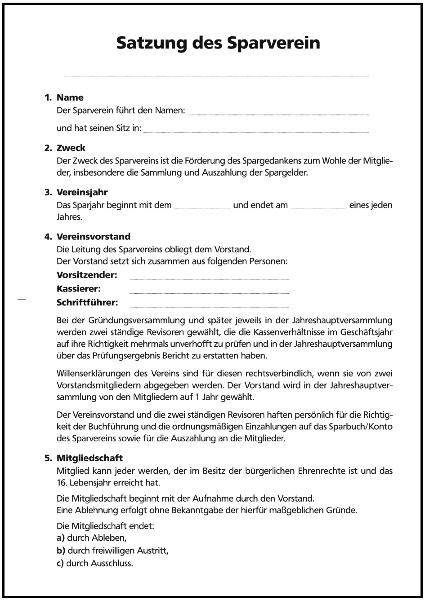 satzung fr sparvereine - Vereinssatzung Muster