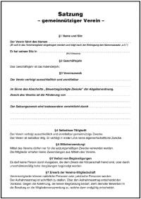 vorlage vereinssatzung b - Muster Vereinssatzung