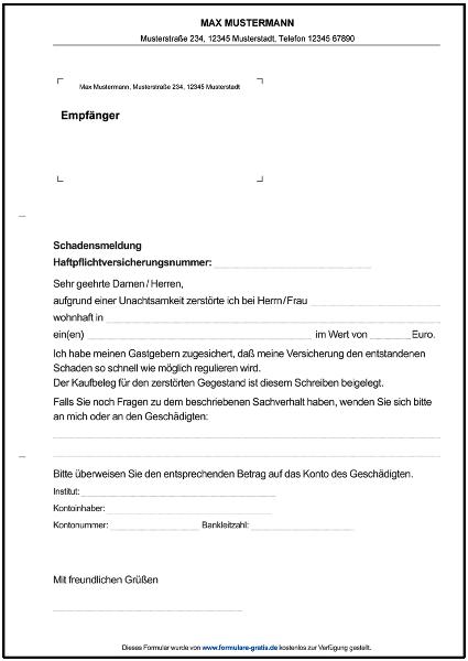 muster business template vorlage kndigung kfz versicherung word schadensmeldung haftpflichtversicherung formulare gratis - Muster Kundigung Versicherung