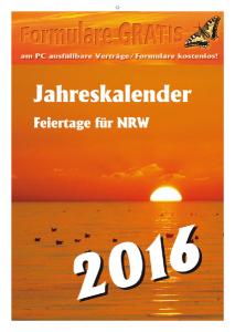 Jahreskalender 2016 Feiertage NRW