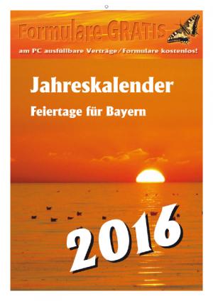 Kalender 2016 Feiertage Bayern