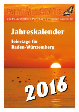 Kalender 2016 Feiertage BW