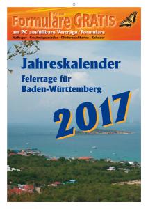 Kalender 2017 Feiertage BW