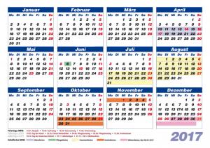 Kalender 2017 Feiertage/Schulferien NRW