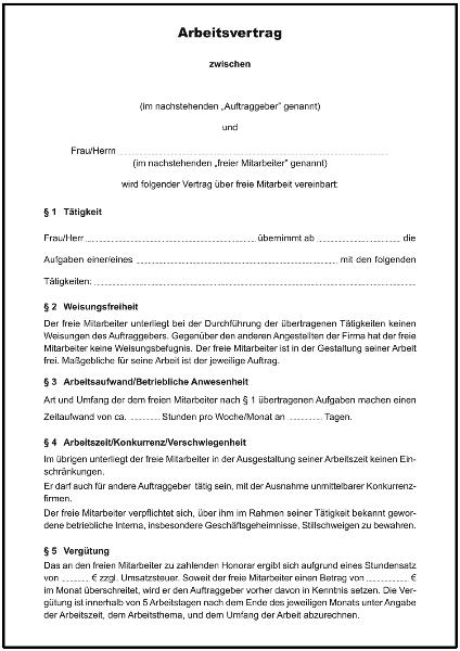 Freier Mitarbeiter Arbeitsvertrag - Formulare gratis