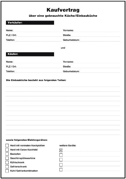 Kaufvertrag gebrauchte Einbauküche - Formulare gratis