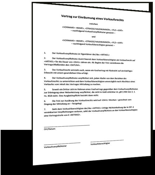 Mustervertrag Vorkaufsrecht