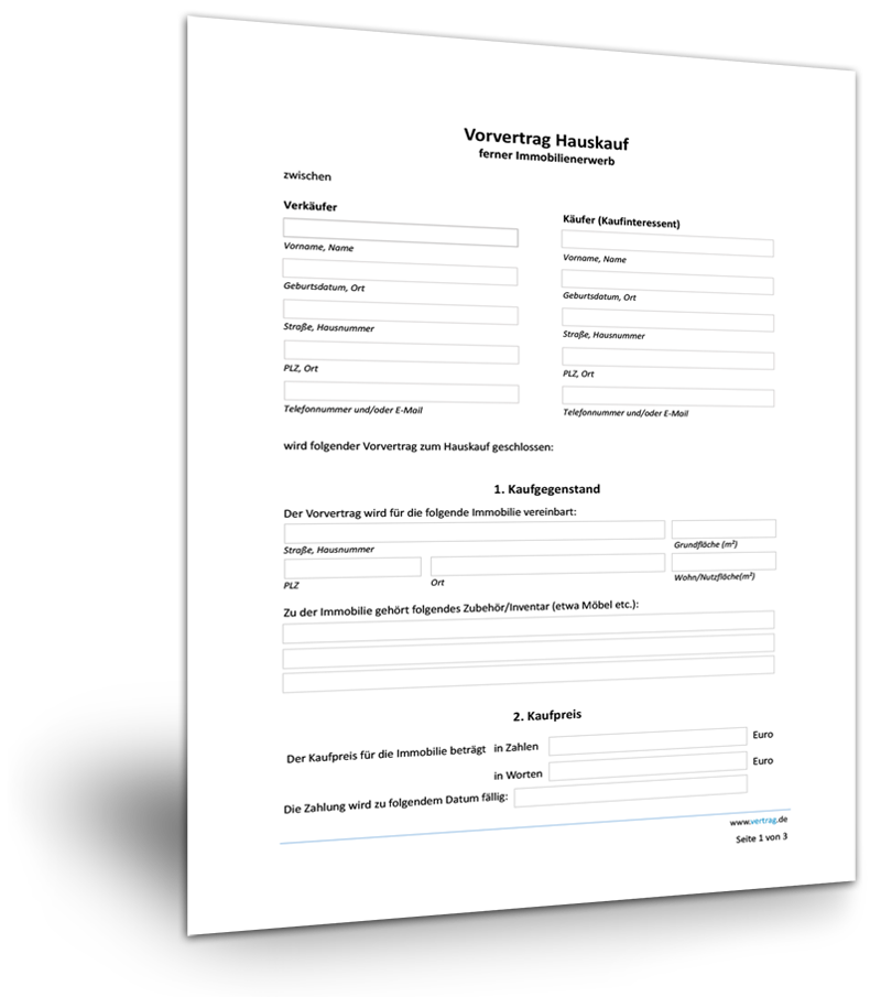 Vorvertrag Grundstuckskaufvertrag Muster Zum Download