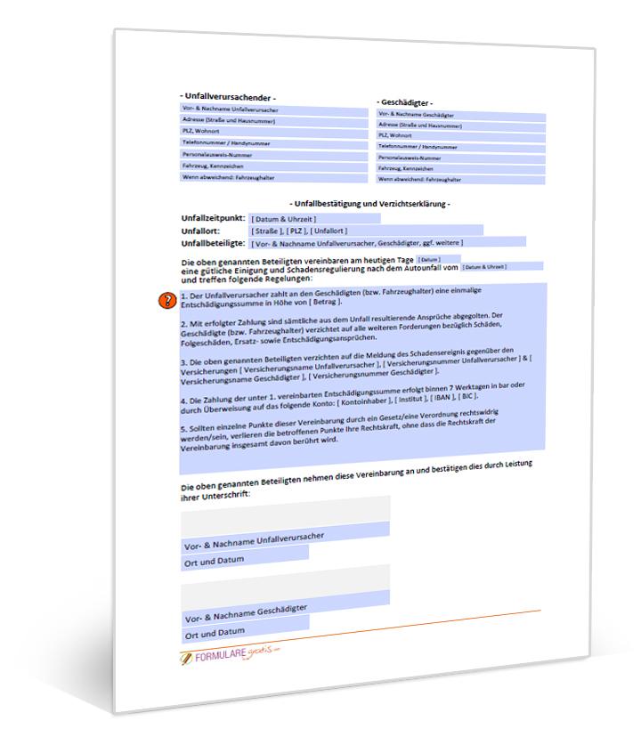 Vorlage Verzichtserklärung Autounfall