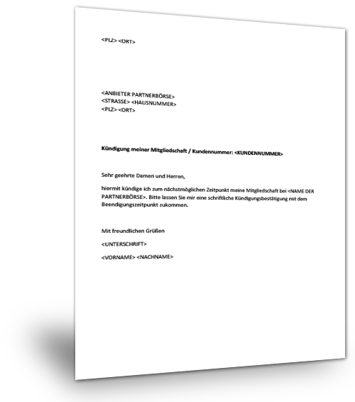 Kündigung mitgliedschaft single.de