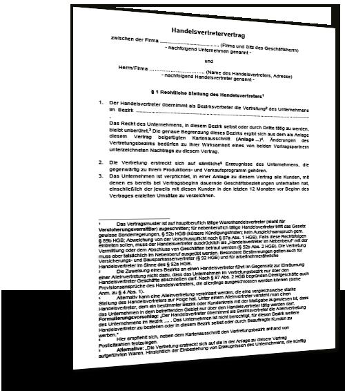 Mustervertrag Agb Handelsvertreter