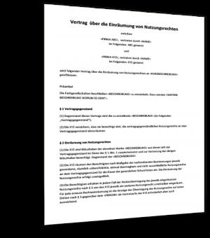Muster Vertrag Nutzungsrechte