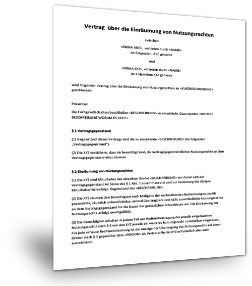 Mustervertrag Nutzungsrechte