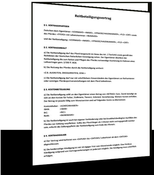 Mustervertrag Agb Reitbeteiligung