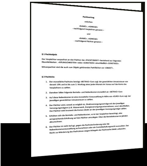 Pachtvertrag Fur Eine Immobilie Pdf Pdf Vorlage