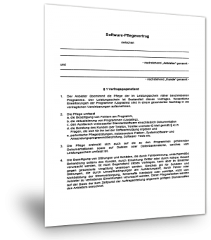 Muster Softwarepflegevertrag