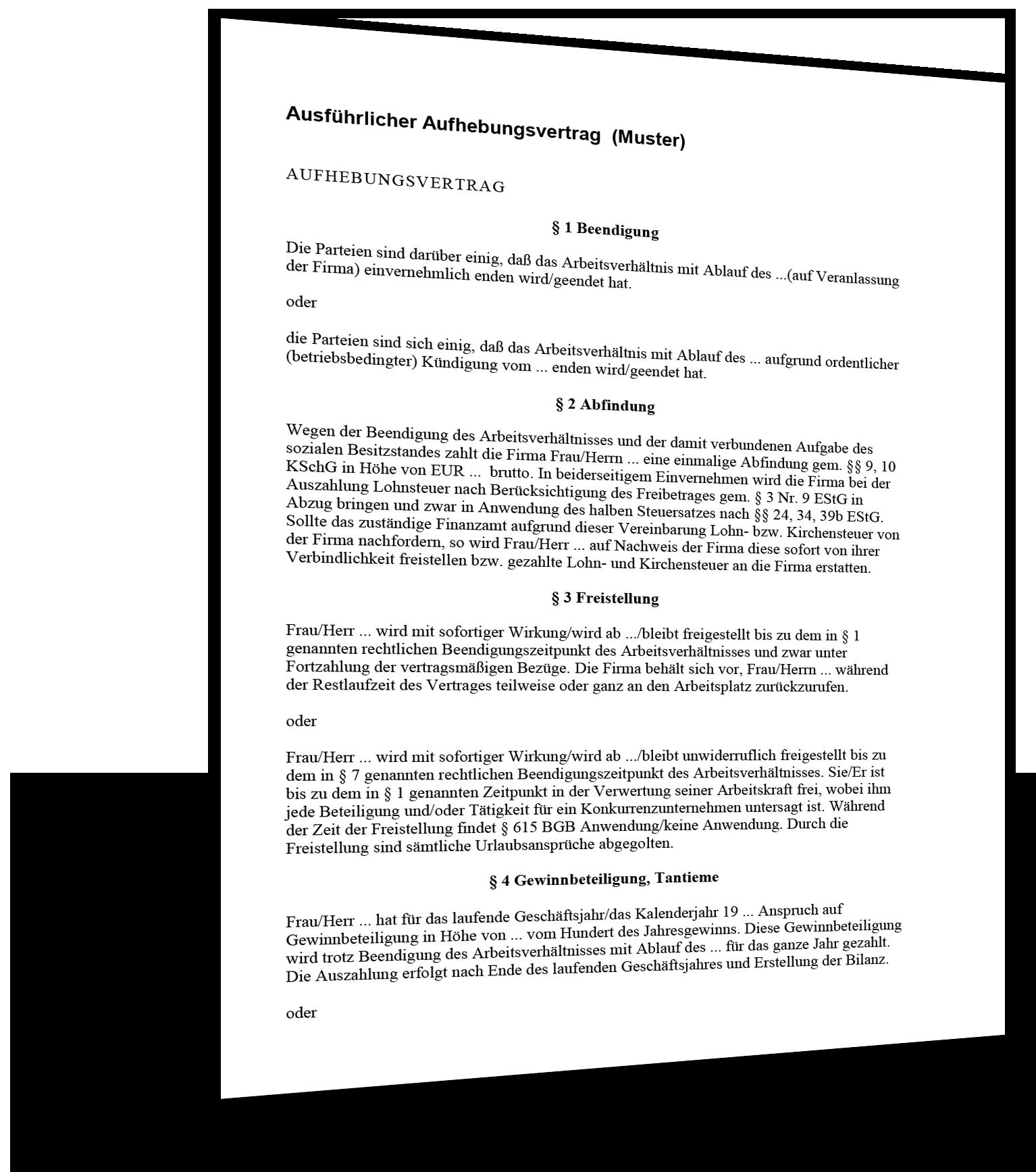 Vorlage Aufhebungsvertrag Ausführlich
