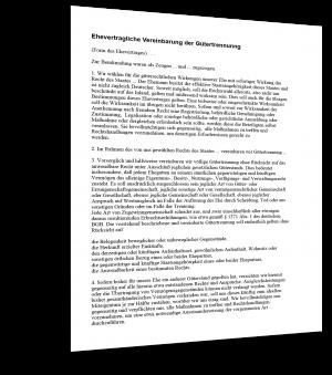 Gütertrennungsvereinbarung Muster