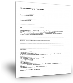 Kfz-Leasingvertrag für Privatwagen Muster