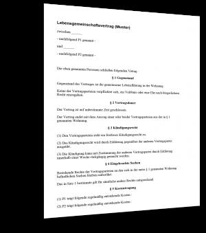 Lebensgemeinschafts-Vertrag Muster