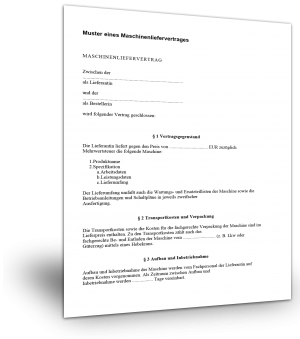 Maschinenliefervertrag Muster