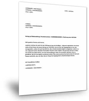 Ratenzahlungsvereinbarung Muster
