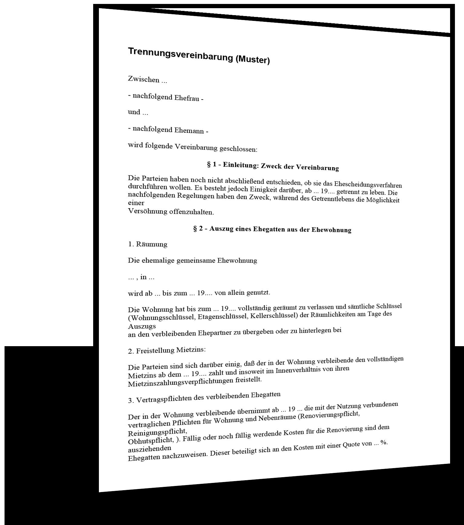 Vorlage Trennungsvereinbarung