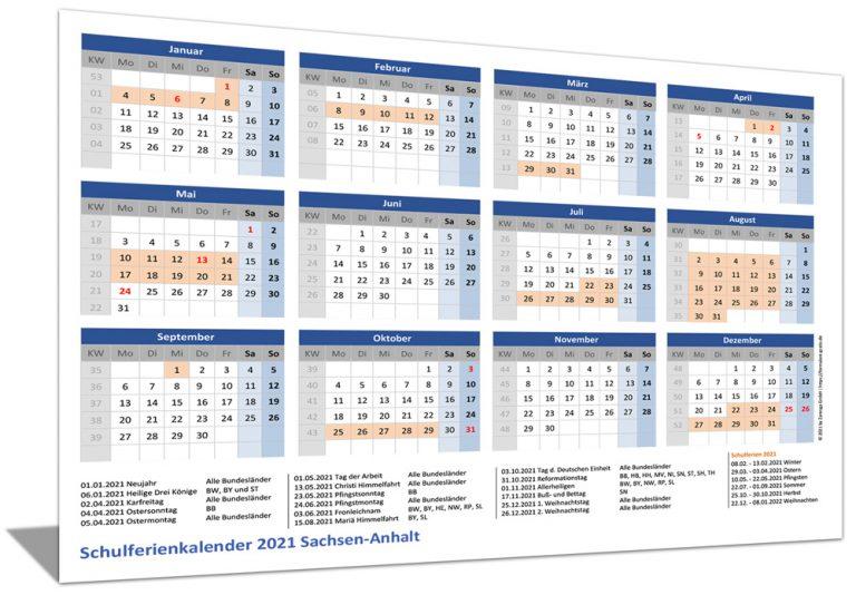 Schulferienkalender Sachsen-Anhalt 2021